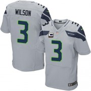 NFL Russell Wilson Seattle Seahawks Elite Alternate C Patch Nike Jersey - Grey