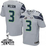NFL Russell Wilson Seattle Seahawks Elite Alternate Super Bowl XLVIII C Patch Nike Jersey - Grey