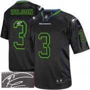 NFL Russell Wilson Seattle Seahawks Elite Autographed Nike Jersey - Lights Out Black