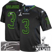 NFL Russell Wilson Seattle Seahawks Elite Autographed Super Bowl XLVIII Nike Jersey - Lights Out Black