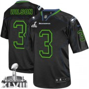 NFL Russell Wilson Seattle Seahawks Elite Super Bowl XLVIII Nike Jersey - Lights Out Black