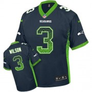 NFL Russell Wilson Seattle Seahawks Elite Drift Fashion Nike Jersey - Navy Blue