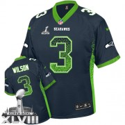 NFL Russell Wilson Seattle Seahawks Elite Drift Fashion Super Bowl XLVIII Nike Jersey - Navy Blue