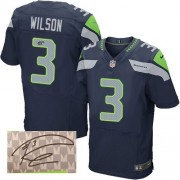 NFL Russell Wilson Seattle Seahawks Elite Team Color Home Autographed Nike Jersey - Navy Blue