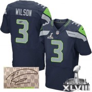 NFL Russell Wilson Seattle Seahawks Elite Team Color Home Autographed Super Bowl XLVIII Nike Jersey - Navy Blue