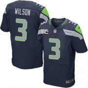 NFL Russell Wilson Seattle Seahawks Elite Team Color Home C Patch Nike Jersey - Navy Blue