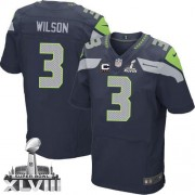 NFL Russell Wilson Seattle Seahawks Elite Team Color Home Super Bowl XLVIII C Patch Nike Jersey - Navy Blue