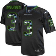 NFL Russell Wilson Seattle Seahawks Elite Nike Jersey - New Lights Out Black