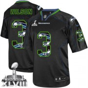 NFL Russell Wilson Seattle Seahawks Elite Super Bowl XLVIII Nike Jersey - New Lights Out Black