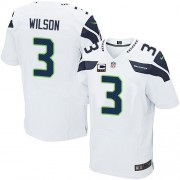 NFL Russell Wilson Seattle Seahawks Elite Road C Patch Nike Jersey - White