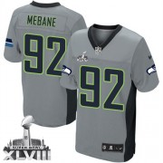 NFL Brandon Mebane Seattle Seahawks Elite Super Bowl XLVIII Nike Jersey - Grey Shadow