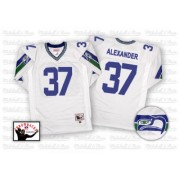 NFL Shaun Alexander Seattle Seahawks Authentic Road Throwback Mitchell and Ness Jersey - White