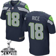 NFL Sidney Rice Seattle Seahawks Elite Team Color Home Super Bowl XLVIII Nike Jersey - Navy Blue