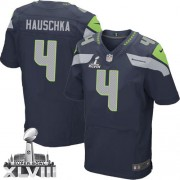 NFL Steven Hauschka Seattle Seahawks Elite Team Color Home Super Bowl XLVIII Nike Jersey - Navy Blue