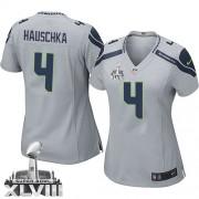 NFL Steven Hauschka Seattle Seahawks Women's Limited Alternate Super Bowl XLVIII Nike Jersey - Grey