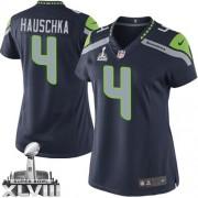 NFL Steven Hauschka Seattle Seahawks Women's Limited Team Color Home Super Bowl XLVIII Nike Jersey - Navy Blue