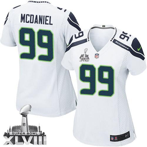 NFL Tony McDaniel Seattle Seahawks Women's Elite Road Super Bowl XLVIII Nike Jersey - White