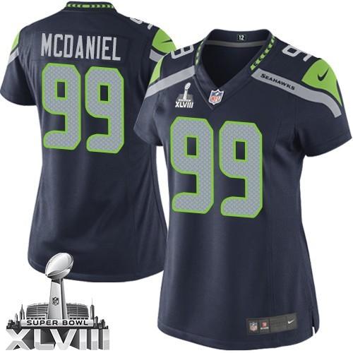 NFL Tony McDaniel Seattle Seahawks Women's Limited Team Color Home Super Bowl XLVIII Nike Jersey - Navy Blue