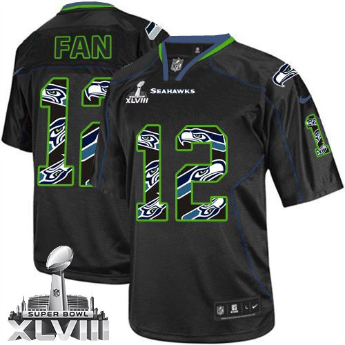 NFL 12th Fan Seattle Seahawks Elite Super Bowl XLVIII Nike Jersey - New Lights Out Black