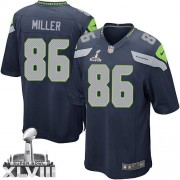 NFL Zach Miller Seattle Seahawks Game Team Color Home Super Bowl XLVIII Nike Jersey - Navy Blue