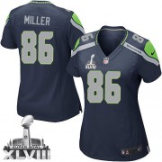 NFL Zach Miller Seattle Seahawks Women's Game Team Color Home Super Bowl XLVIII Nike Jersey - Navy Blue