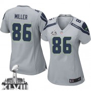 NFL Zach Miller Seattle Seahawks Women's Limited Alternate Super Bowl XLVIII Nike Jersey - Grey