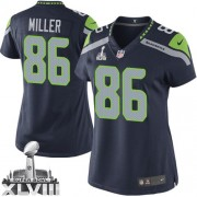 NFL Zach Miller Seattle Seahawks Women's Limited Team Color Home Super Bowl XLVIII Nike Jersey - Navy Blue