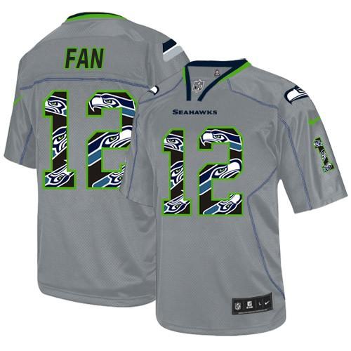 NFL 12th Fan Seattle Seahawks Elite New Nike Jersey - Lights Out Grey