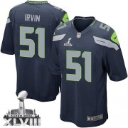 NFL Bruce Irvin Seattle Seahawks Game Team Color Home Super Bowl XLVIII Nike Jersey - Navy Blue