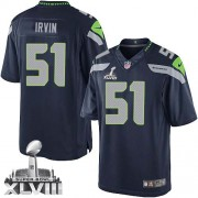 NFL Bruce Irvin Seattle Seahawks Limited Team Color Home Super Bowl XLVIII Nike Jersey - Navy Blue