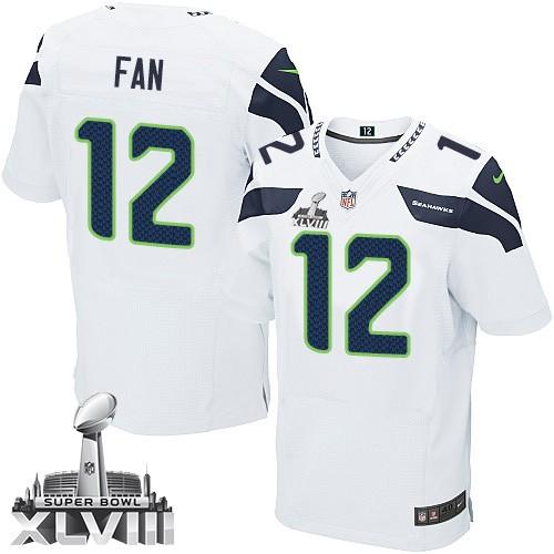 NFL 12th Fan Seattle Seahawks Elite Road Super Bowl XLVIII Nike Jersey - White