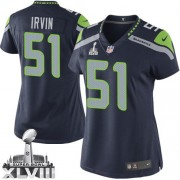 NFL Bruce Irvin Seattle Seahawks Women's Elite Team Color Home Super Bowl XLVIII Nike Jersey - Navy Blue