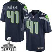NFL Byron Maxwell Seattle Seahawks Limited Team Color Home Super Bowl XLVIII Nike Jersey - Navy Blue