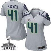 NFL Byron Maxwell Seattle Seahawks Women's Elite Alternate Super Bowl XLVIII Nike Jersey - Grey