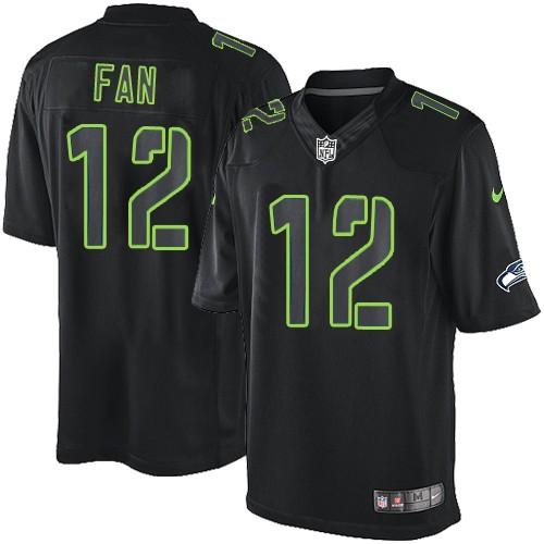 NFL 12th Fan Seattle Seahawks Elite Nike Jersey - Black Impact