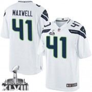 NFL Byron Maxwell Seattle Seahawks Youth Elite Road Super Bowl XLVIII Nike Jersey - White