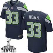 NFL Christine Michael Seattle Seahawks Elite Team Color Home Super Bowl XLVIII Nike Jersey - Navy Blue