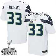 NFL Christine Michael Seattle Seahawks Elite Road Super Bowl XLVIII Nike Jersey - White