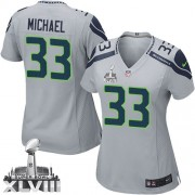 NFL Christine Michael Seattle Seahawks Women's Elite Alternate Super Bowl XLVIII Nike Jersey - Grey