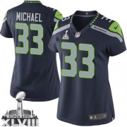 NFL Christine Michael Seattle Seahawks Women's Elite Team Color Home Super Bowl XLVIII Nike Jersey - Navy Blue