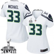 NFL Christine Michael Seattle Seahawks Women's Elite Road Super Bowl XLVIII Nike Jersey - White