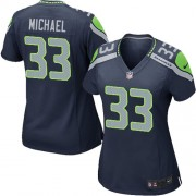 NFL Christine Michael Seattle Seahawks Women's Game Team Color Home Nike Jersey - Navy Blue