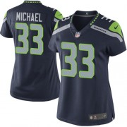 NFL Christine Michael Seattle Seahawks Women's Limited Team Color Home Nike Jersey - Navy Blue