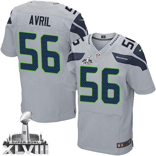 34fda606a69 NFL Cliff Avril Seattle Seahawks Elite Alternate Super Bowl XLVIII Nike  Jersey - Grey
