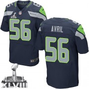 NFL Cliff Avril Seattle Seahawks Elite Team Color Home Super Bowl XLVIII Nike Jersey - Navy Blue