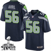 NFL Cliff Avril Seattle Seahawks Limited Team Color Home Super Bowl XLVIII Nike Jersey - Navy Blue