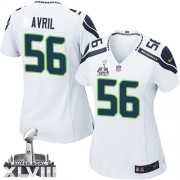 NFL Cliff Avril Seattle Seahawks Women's Elite Road Super Bowl XLVIII Nike Jersey - White