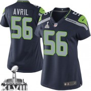NFL Cliff Avril Seattle Seahawks Women's Limited Team Color Home Super Bowl XLVIII Nike Jersey - Navy Blue