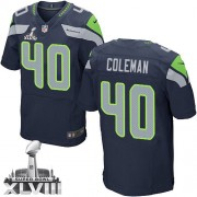 NFL Derrick Coleman Seattle Seahawks Elite Team Color Home Super Bowl XLVIII Nike Jersey - Navy Blue
