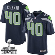 NFL Derrick Coleman Seattle Seahawks Limited Team Color Home Super Bowl XLVIII Nike Jersey - Navy Blue